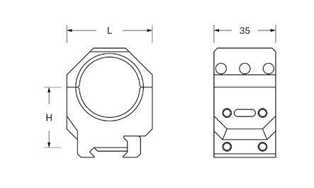Montaż dwuczęściowy ADVERSUS D 34mm, H 38mm
